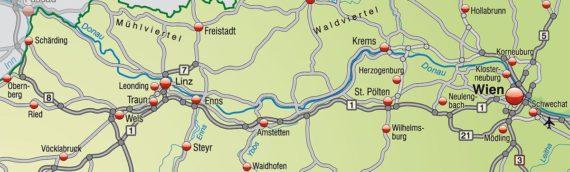 Planung der Fahrradtour von Passau nach Wien